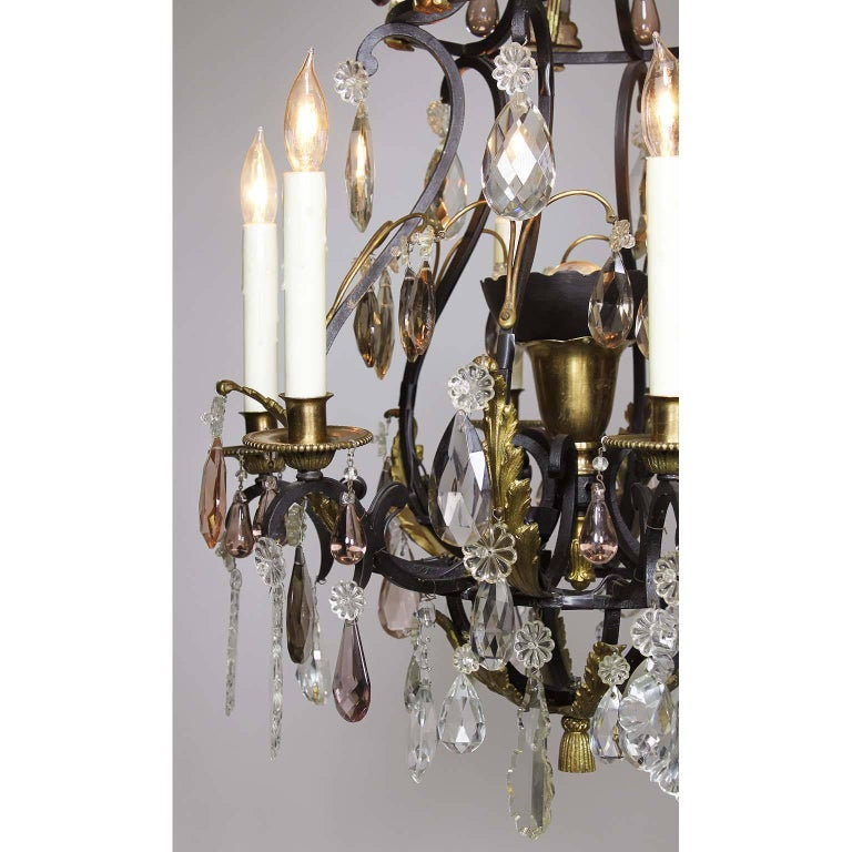 Early 20th Century French 19th-20th Century Louis XV Style Wrought Iron & Bronze Crystal Chandelier For Sale