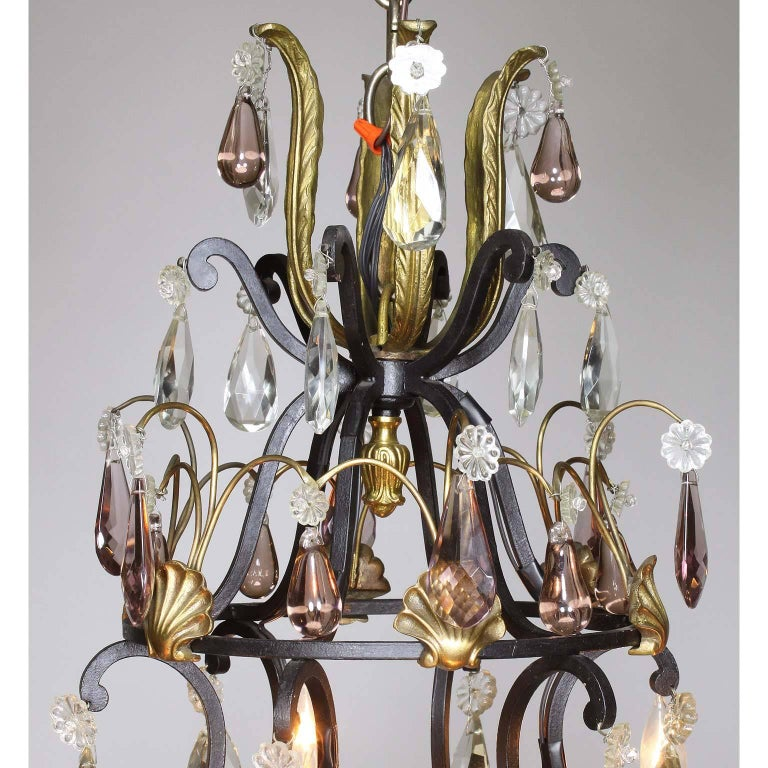Cold-Painted French 19th-20th Century Louis XV Style Wrought Iron & Bronze Crystal Chandelier For Sale