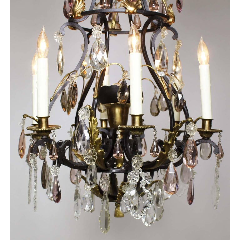 French 19th-20th Century Louis XV Style Wrought Iron & Bronze Crystal Chandelier In Excellent Condition For Sale In Los Angeles, CA
