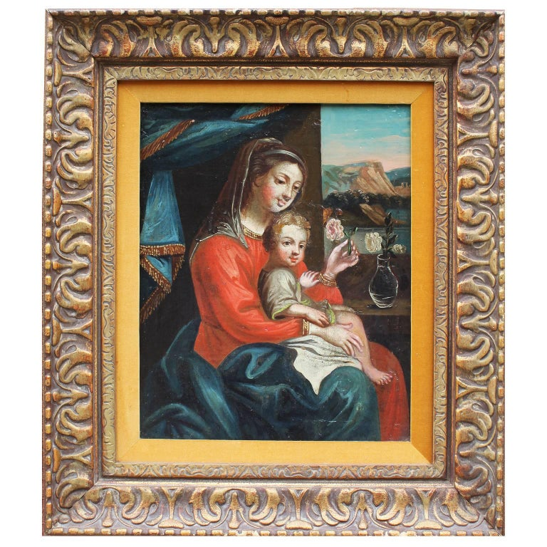 """Italian Mid-19th Century Oil on Board Representing a """"Mother and Child"""""""