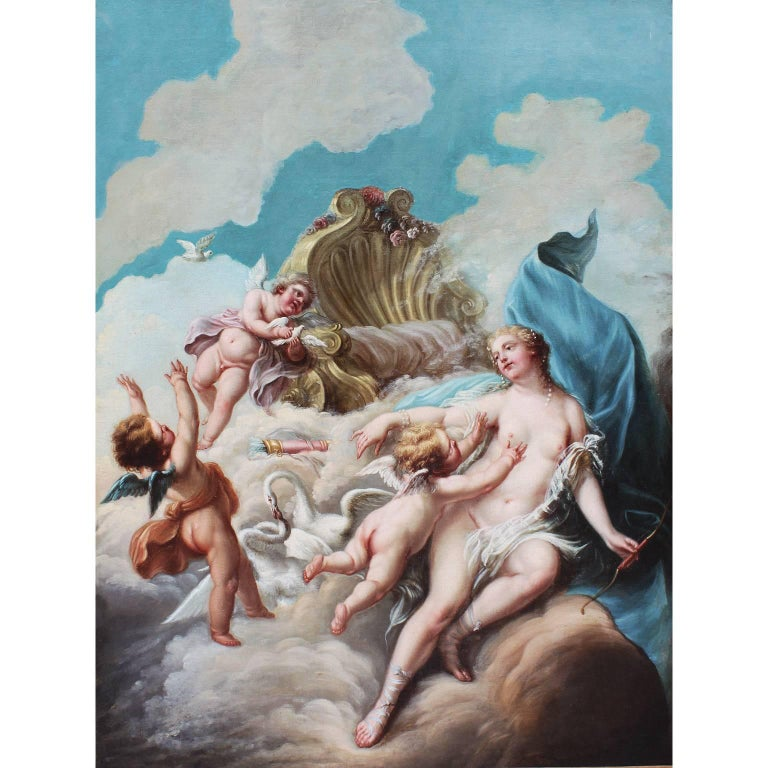 "French 19th Century Oil on Canvas ""the Triumph of Love"" After François Boucher"