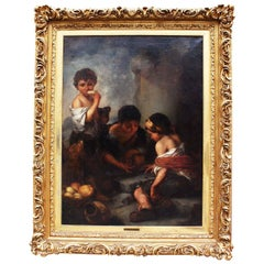 "Large Oil on Canvas ""Beggar Boys Playing Dice"" After Bartolomé Esteban Murrillo"