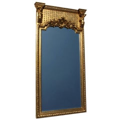 French Belle Époque Giltwood and Gesso Carved Figural Trumeau Mirror with Putti