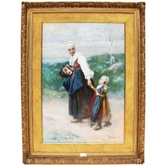 "Large Watercolor ""Mother & Daughter"" by Thure de Thulstrup"