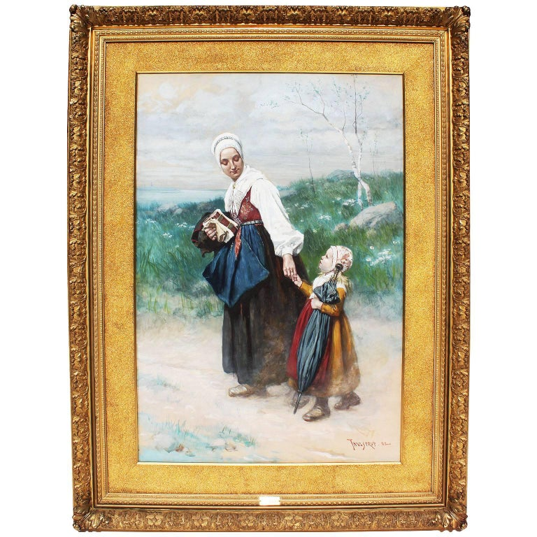 """Large Watercolor """"Mother & Daughter"""" by Thure de Thulstrup For Sale"""