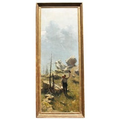 "Felix Possart Large Oil on Canvas ""A Spring Alpine Journey"""