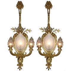 Pair of French 19th-20th Century Louis XV Style Figural Wall Lights with Lions