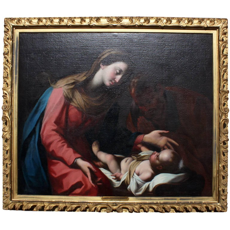 """Italian 18th Century Oil on Canvas """"Madonna and Child"""" after Giovanni Lanfranco"""