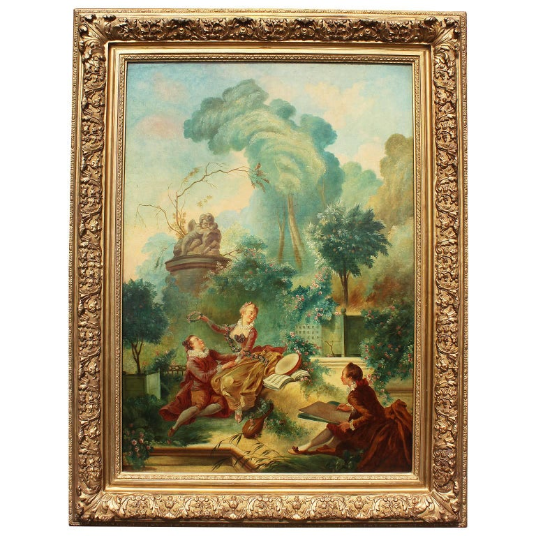 After Fragonard French 19th Century Oil on Canvas Progress of Love-Lover Crowned