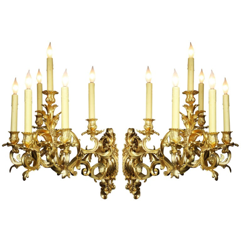 French 19th Century Louis XV Style Rococo Gilt-Bronze Wall Lights Sconces, Pair