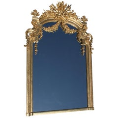French 19th Century Louis XV Style Giltwood & Gesso Carved Figural Mirror Frame