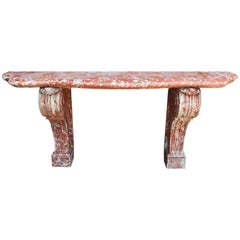 Palatial French 19th Century Louis XV Style Carved Rouge Royal Marble Console