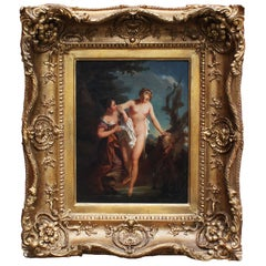 "French 19th Century Oil on Artist Panel ""the Bather and Her Maid"" After Lemoyne"
