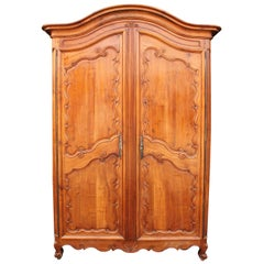 Fine French 19th Century Louis XV Style Walnut Carved 2-Door Provincial Armoire