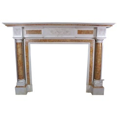 English Neoclassical and Georgian Style Carved Fireplace Mantel, Spelling Manor