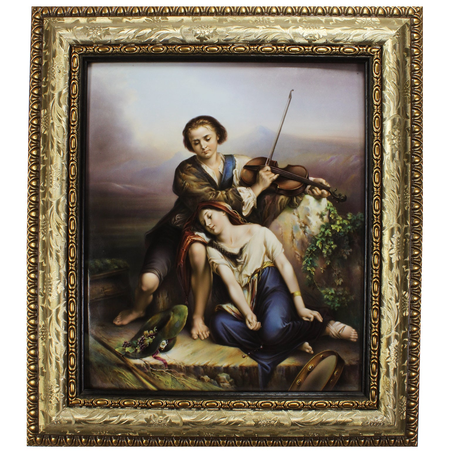 "German Late 19th Century Berlin K.P.M. Porcelain Plaque  ""the Violin Recital"""