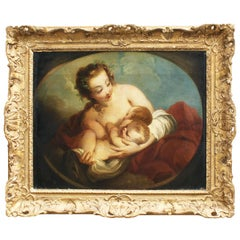 French 18th Century Oil on Canvas Mother and Twin Babies Fecundity after Lemoyne