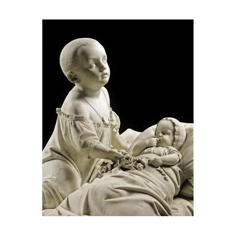 Antonio Tantardini (Italian, 1829-1879) An extraordinary Italian 19th century life size marble sculpture of