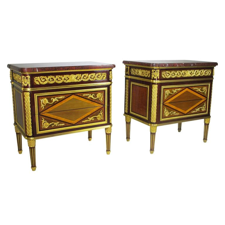 Pair of French 19th Century Louis XVI Style Ormolu-Mounted Demi Commodes