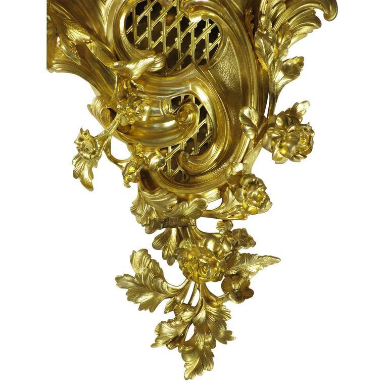 Ormolu Fine French 19th Century Louis XV Style Gilt Bronze Cartel Clock Lerolle Freres For Sale