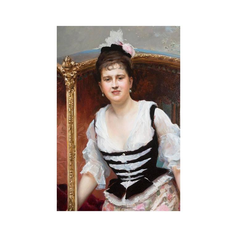 Raimundo De Madrazo Y Garreta Palatial Oil On Canvas For