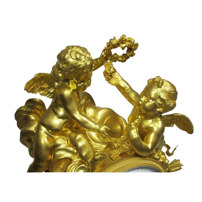 French Louis XV Style 19th-20th Century Figural Gilt Bronze White Marble Mantel Clock For Sale