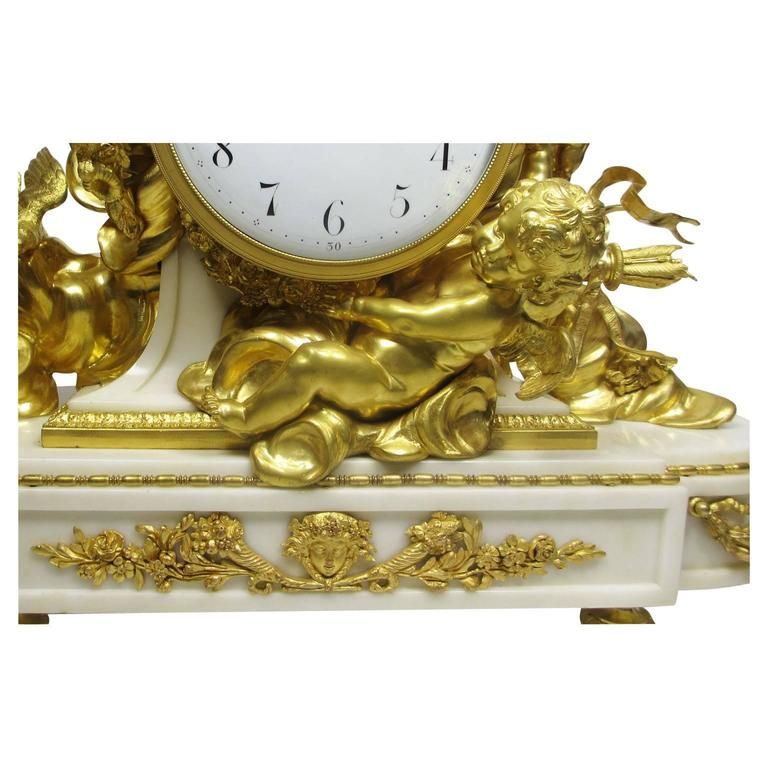 Carved Louis XV Style 19th-20th Century Figural Gilt Bronze White Marble Mantel Clock For Sale