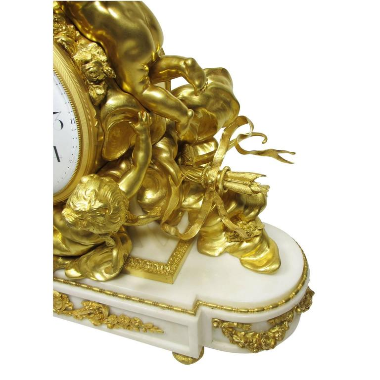 Louis XV Style 19th-20th Century Figural Gilt Bronze White Marble Mantel Clock In Good Condition For Sale In Los Angeles, CA