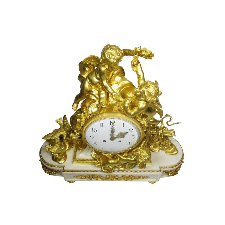 Louis XV Style 19th-20th Century Figural Gilt Bronze White Marble Mantel Clock For Sale 1