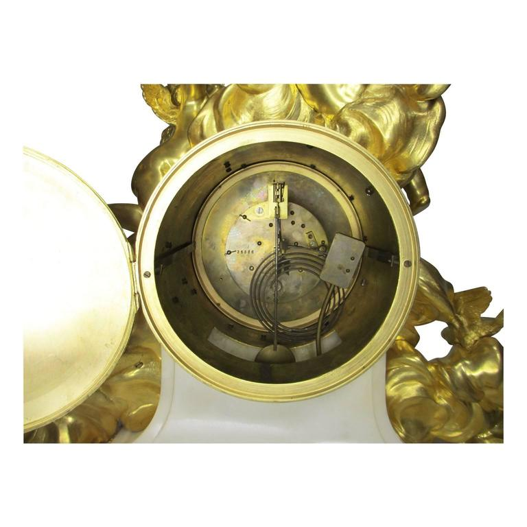 Louis XV Style 19th-20th Century Figural Gilt Bronze White Marble Mantel Clock For Sale 3