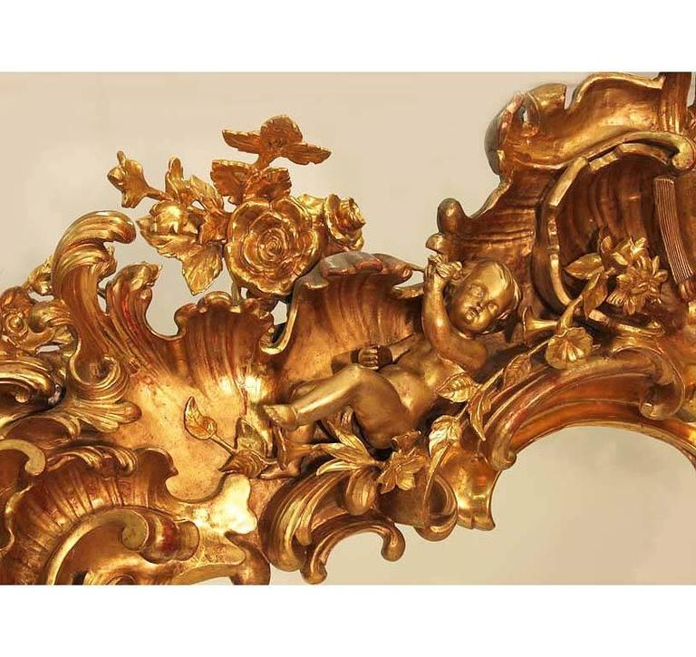 Monumental Italian 19th Century Baroque Giltwood and Gesso Carved Figural Mirror For Sale 1