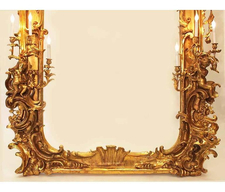 Monumental Italian 19th Century Baroque Giltwood and Gesso Carved Figural Mirror In Good Condition For Sale In Los Angeles, CA