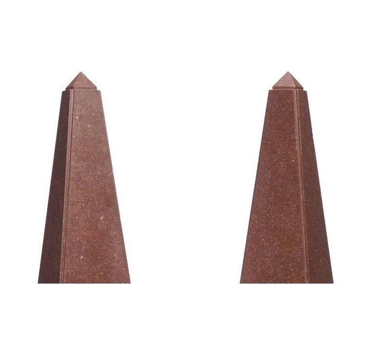 A Pair of French Empire 19th-20th Century Red Porphyry and Gilt-Bronze Obelisks For Sale 2