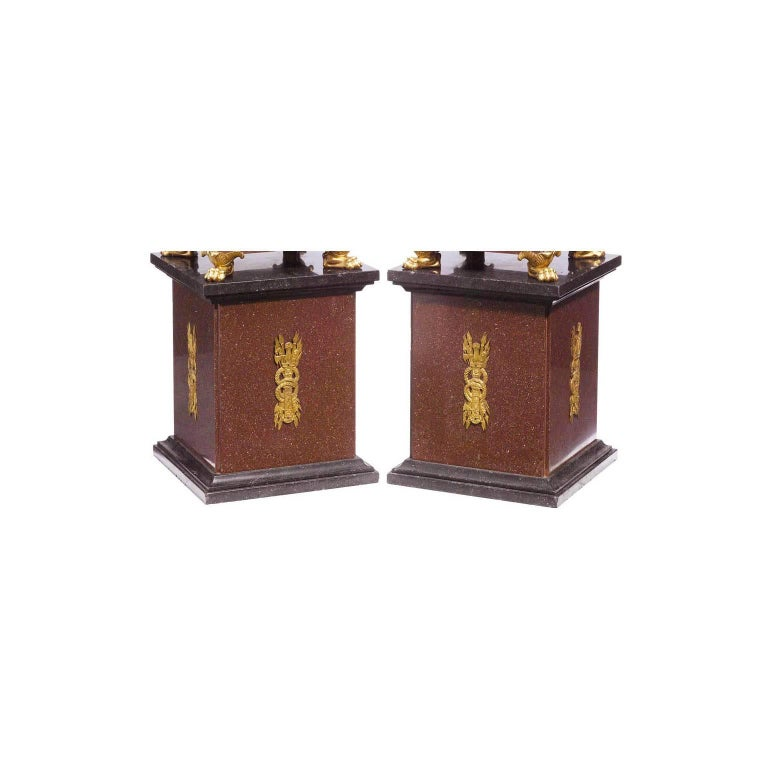 Empire Revival A Pair of French Empire 19th-20th Century Red Porphyry and Gilt-Bronze Obelisks For Sale