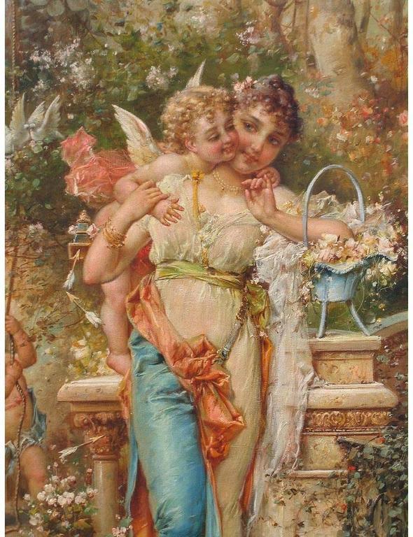 Belle Époque Hans Zatzka, Austrian Oil on Canvas Titled
