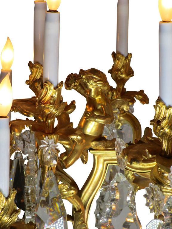 French 19th Century Louis XV Style Cherub & Dragons Ormolu & Crystal Chandelier For Sale 4