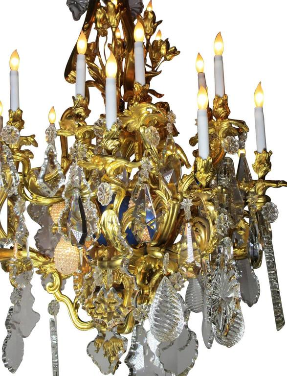 French 19th Century Louis XV Style Cherub & Dragons Ormolu & Crystal Chandelier For Sale 5