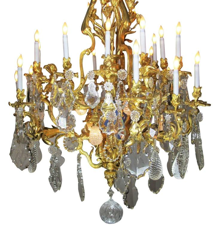 French 19th Century Louis XV Style Cherub & Dragons Ormolu & Crystal Chandelier In Excellent Condition For Sale In Los Angeles, CA