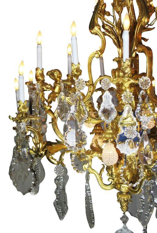 Bronze French 19th Century Louis XV Style Cherub & Dragons Ormolu & Crystal Chandelier For Sale