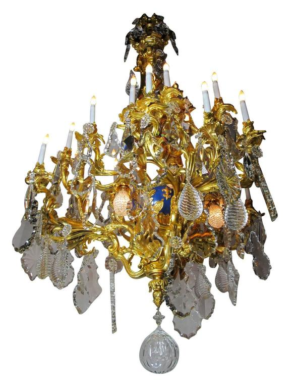 French 19th Century Louis XV Style Cherub & Dragons Ormolu & Crystal Chandelier For Sale 1
