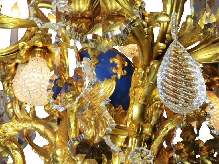 French 19th Century Louis XV Style Cherub & Dragons Ormolu & Crystal Chandelier For Sale 2