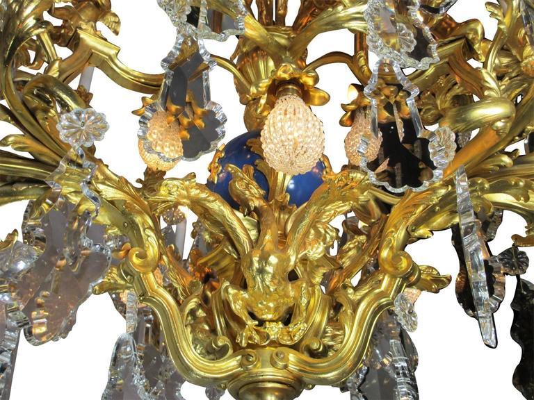 French 19th Century Louis XV Style Cherub & Dragons Ormolu & Crystal Chandelier For Sale 3