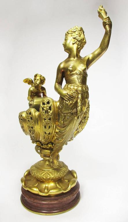 French Napoleon III Gilt Bronze Trophy with a Cherub and a Maiden