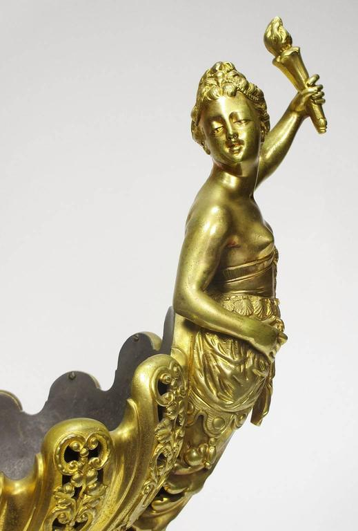 Napoleon III Gilt Bronze Trophy with a Cherub and a Maiden