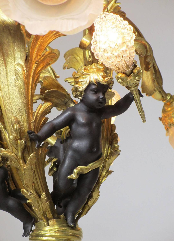 French belle 201 poque gilt bronze patinated bronze ten light figural