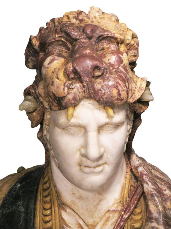 Greco Roman Lifesize Italian 19th Century Specimen Marble Bust of a Greco-Roman Warrior For Sale