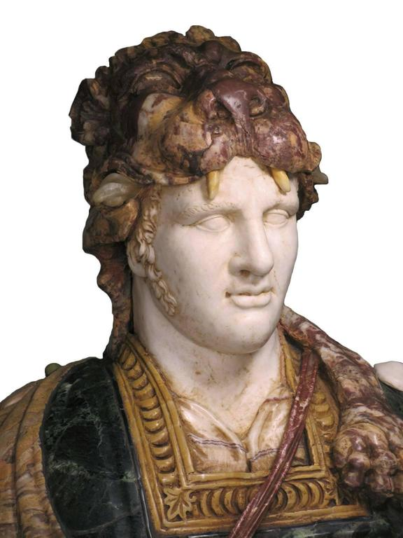 Carved Lifesize Italian 19th Century Specimen Marble Bust of a Greco-Roman Warrior For Sale