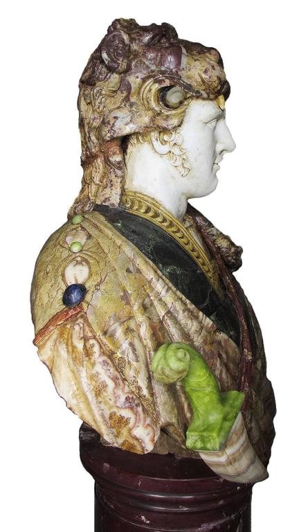 20th Century Lifesize Italian 19th Century Specimen Marble Bust of a Greco-Roman Warrior For Sale