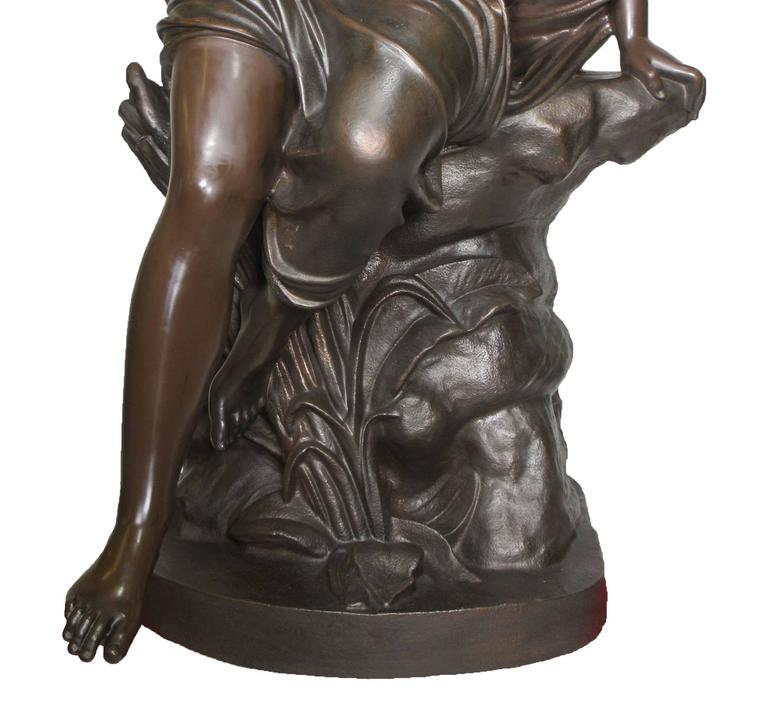 Classical Greek Large French 19th Century Cast-Iron Fountain Figure of a Seated Nude Maiden For Sale