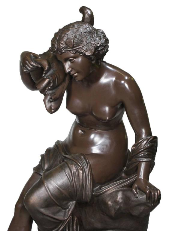 Large French 19th Century Cast-Iron Fountain Figure of a Seated Nude Maiden In Excellent Condition For Sale In Los Angeles, CA